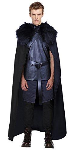 Halloween Nord Kostüm (BOODUN Halloween Cosplay Jon Schnee Outfit Jacke Nord König Kostüm Leder Tunika)