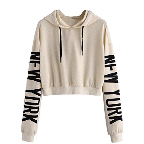 TWIFER Herbst Damen Frauen Langarm Hoodie Buchstaben Sweatshirt Crop Pullover Kapuzenpullover Tops