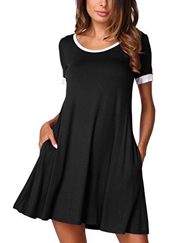 DJT Women's Color Block Short Sleeve Pockets Casual Swing Loose T-Shirt Dress