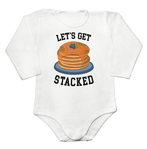 Finest Prints Let's Get Stacked Fluffy American Pancakes Baby Long Sleeve Romper Bodysuit Babyspielanzug Extra Large -