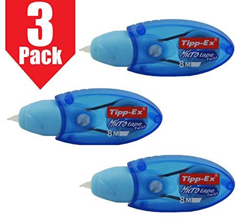 Tipp-Ex Micro Tape Twist correttore nastro per riscrittura istantanea, colore corpo blu, confezione da 3