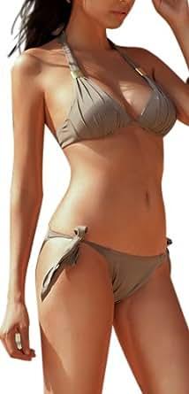 r-dessous Neckholder Push up Bikini braun Damen Bademode Groesse: XXL