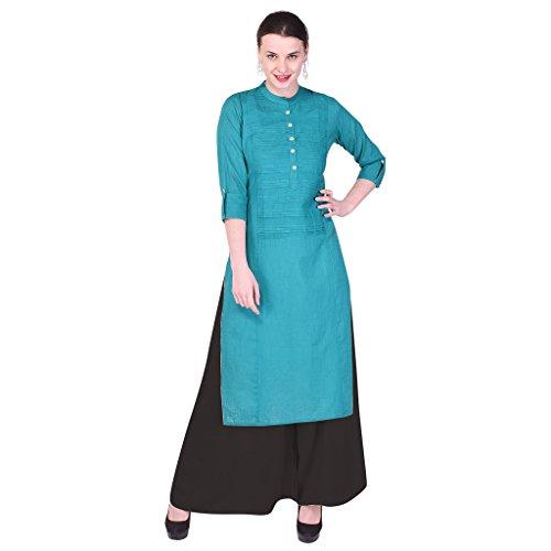 Indiwest Women's Dress Material(ISNSKP0015-Turquoise-Black-M_Turquoise&Black2_Medium)