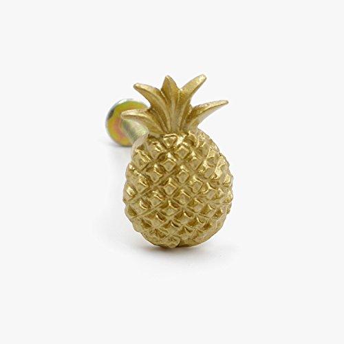 Goldenes Gold Metal Ananas Schrankknöpfe, Schrank-Zubehör Knöpfe, Kabinettgriffe, für Türen, Schubladen, Möbel und Küchen 2.22 cm Durchmesser, 2.6 cm Stablänge