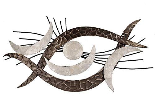 Formano Extravagante Wanddeko aus Metall Auge Industrial Design Bild Silber Weiß Braun Moderne Wanddekoration Wandbild 98x50cm Groß