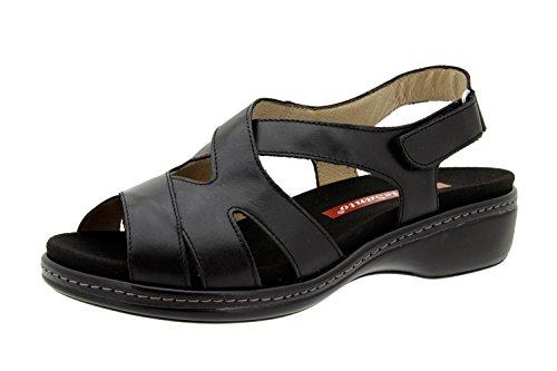 Chaussures femme en cuir Confortable Piesanto 6813Sandale Chaussures Semelle intérieure CONFORT Large Semelle amovible Natur Negro