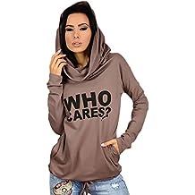 Mujer Sudaderas Con Capucha Elegante Estampadas Cartas Hoody Deporte Anchas Manga Larga Sweatshirts Invierno Otoño Con Cordón Casual Pullover Hipster Niña Sudadera Hoodies Camisetas