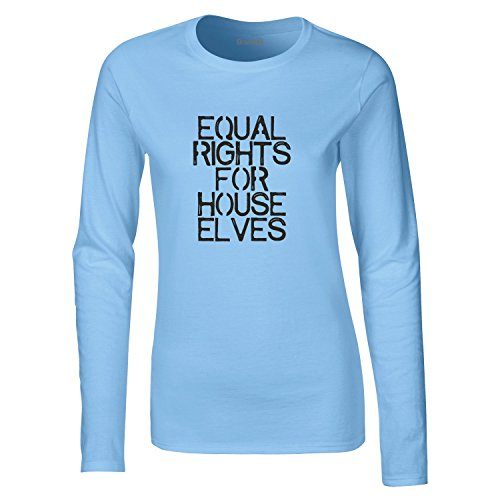 Equal Rights For House Elves, Damen Langarm-T-Shirt, Hellblau/Schwarz, M = 8-10