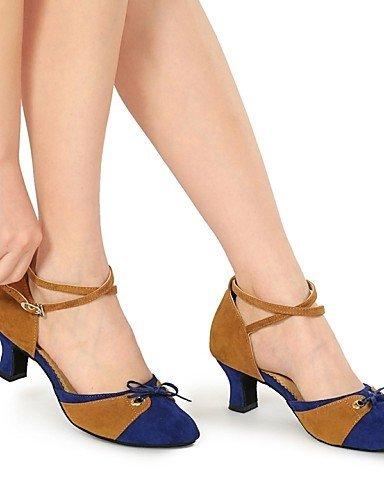ShangYi Chaussures de danse (Noir/Bleu/Rouge) - Non personnalisable - Gros talon - Flocage - Moderne Black