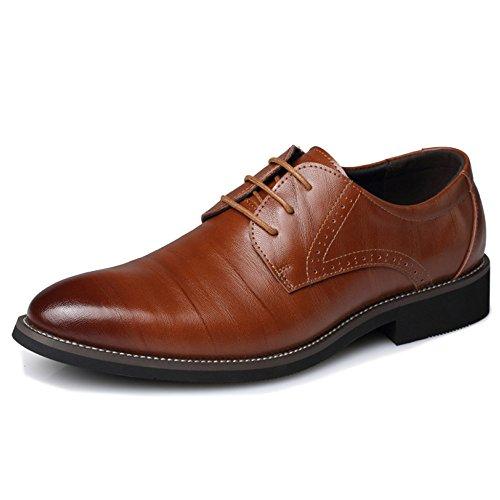 Herren Echtleder Derby Schuh Vintage Lace-ups Business Formelle Kleidung Für Hochzeit Arbeit Büro Plain Toe Schuhe,Yellow-41 Lace Boys Oxford