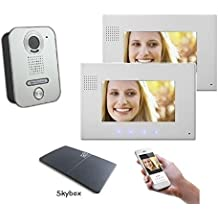 2Alambre Videoportero Aufputz interfono–2x 7pulgadas monitor con WiFi Interfaz