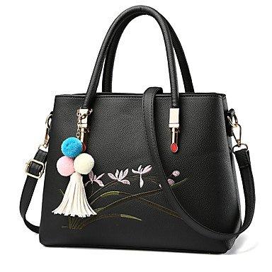 Damenmode PU Leder Messenger Umhängetaschen/Handtasche Tote Black
