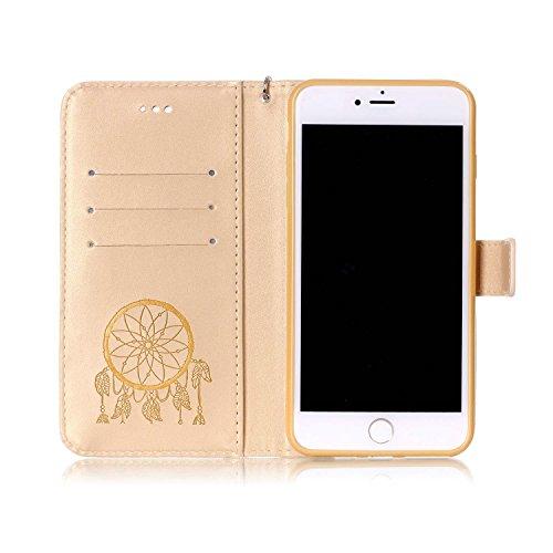 "MOONCASE iPhone 7 Plus Hülle, Bling Glitzer Diamond Crystal Flip PU Leder Handyhülle Bookstyle Cover mit Kartenfächer Schutzhülle Etui für iPhone 7 Plus (5.5"") (Totenkopf Rosa) Campanula Golden"