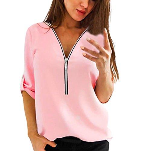 TEBAISE Damen Freizeit Bluse Chiffon Oberteile V Ausschnitt Reißverschluss Mode Hemd Elegante Tank Tops Manschetten-Ärmel Locker Shirt Oberteile(Lila,XL)