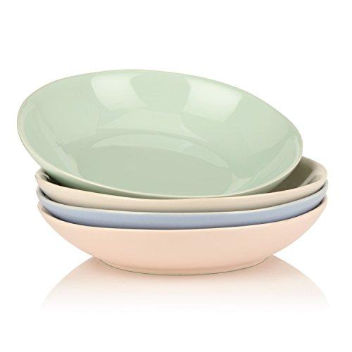 Vancasso Victoria 4-teilig Porzellan Suppenteller, Bunt, Pastateller, Ø 21,5 cm Tiefteller für Tafelservice