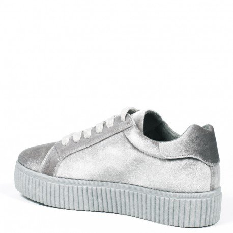 Ideal Shoes - Baskets style creepers effet velours Sophie Gris