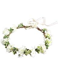 OULII Wedding Floral Headband Women Flower Head Wreath Bridesmaid Bridal Flowers Girls Hair Accessories (White)