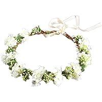 OULII Mariage Floral Bandeau Femmes Fleur Tête Couronne Demoiselle D'honneur Fleurs De Mariée Filles Accessoires De Cheveux (Blanc)