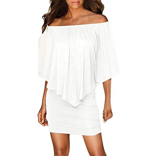 Elecenty Damen Rüschen Partykleid Schulterfrei Sommerkleid Solide Rock Mädchen Kleider Frauen Mode Ärmellos Kleid Hüfte Minikleid Kleidung Abendkleider Hemdkleid Blusekleid (M, Weiß)