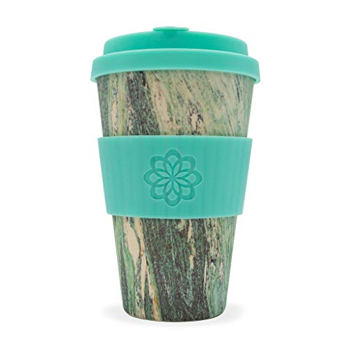 Ecoffee Cup Marmo grün Multicolor, Türkis, Kaffeetasse Kaffeebecher Becher (Kaffee, Solo, 0,4 Liter, Mehrfarbig, Türkis, Bambusfaser, 1 Stück ())