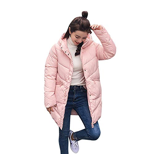 UFACE Frauen Wintermantel Kragen Lange Jacken Warm Thicken Padded Kapuzenmantel