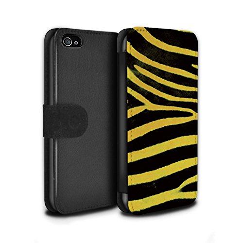 Stuff4 Coque/Etui/Housse Cuir PU Case/Cover pour Apple iPhone 4/4S / Pack 5pcs Design / Zèbre animale Peau/Motif Collection Jaune