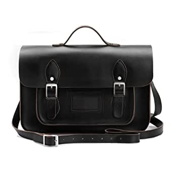 """11""""~15"""" Handmade Vintage British Styling Leather Satchel, Top Handle Available (15"""" Black - With Top handle)"""