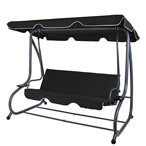 BB Sport 4-Sitzer Hollywoodschaukel klappbar mit Bettfunktion mit Sonnendach und Liegefunktion für 4 Personen, Farbe:Titanschwarz