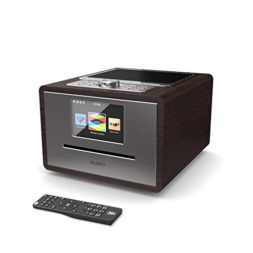 Majority Homerton Internetradio Wi-Fi WLAN - Digital-Radio DAB/DAB+/UKW - CD-Player - Fernbedienung - Bluetooth - Dual Wecker, AUX und USB Anschluss, App-Steuerung (Nussbaum)