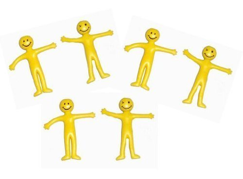 Pack of 20 x Yellow Stretchy Smiley Men / Man Party Bag Filler
