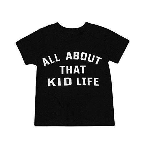 Preisvergleich Produktbild Xshuai Xshuai Baby-Kind-Jungen-Buchstabe-T-Shirt Oberseiten-Familien-Kleidung-Ausstattungs-Kleidung (2 Jahre, Schwarz)