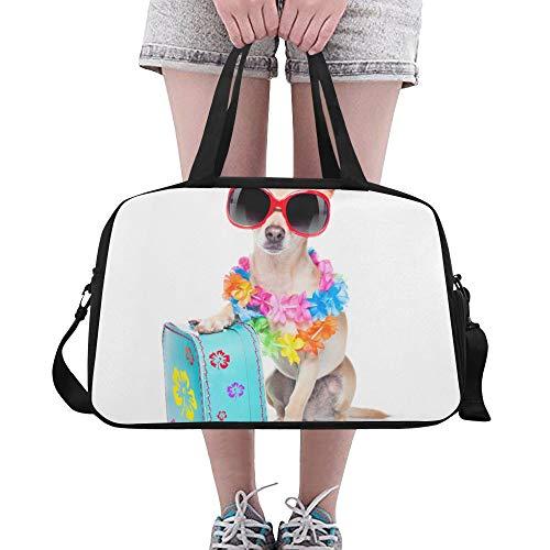 Happy Suitcase Dog Puppy Große Yoga Gym Totes Fitness Handtaschen Reise Seesäcke Schultergurt Schuhtasche Für Übung Sport Gepäck Für Mädchen Männer Frauen Im Freien