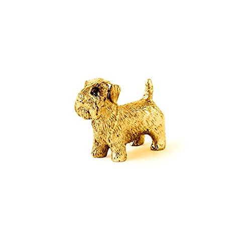 Sealyham Terrier Made in UK, Collection Figurine Artistique Style Chien (plaqué or à 22 catats)