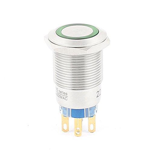 sourcing map 220V 19mm grüne LED Winkel -Augen Rast Metall Taster Schalter (Single-pole-licht-schalter)