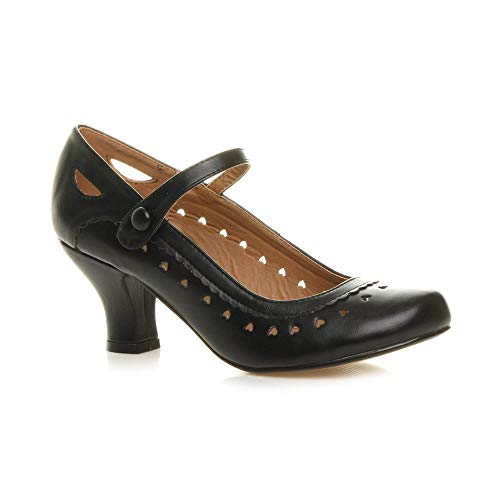 Damen Herzmuster Mary Jane Mittlerer Absatz Feinmachen Pumps Schuhe Größe 41 8
