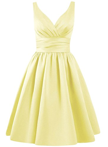 Azbro Women's Simple V Neck A-line Bridesmaid Dress yellow