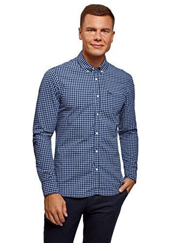 oodji Ultra Hombre Camisa a Cuadros con Bolsillo en el Pecho, Azul, сm 44 / ES 56 / XL