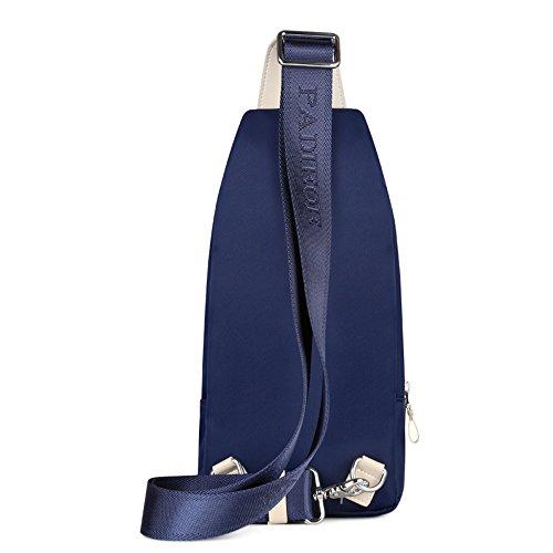Padieoe Outdoor Sports beiläufige Segeltuch Unbalance Rucksack Umhängetasche Sling Bag Umhängetasche Brusttasche für Männer Blau(YB150717L