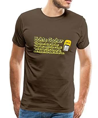 Spreadshirt Echte Cacher Männer Premium T-Shirt, S, Edelbraun