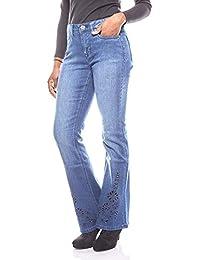 ba7b315580ba Arizona Jeans Bootcut pour Dames avec Broderie à Trous Taille Longue Bleu