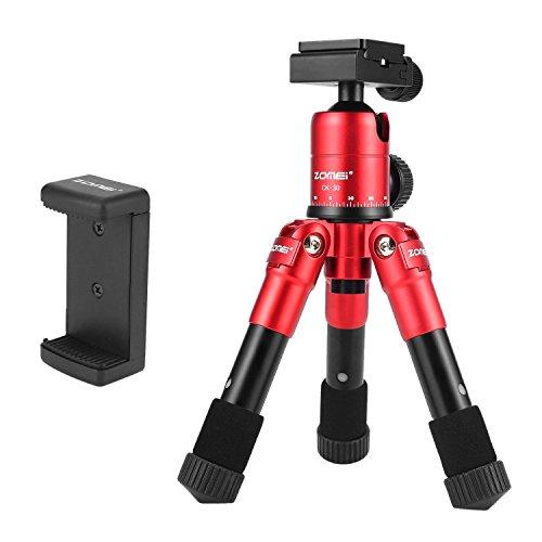 Trípodes de Mesa y Viaje - ZOMEi CK-45 Marco Ultracompacto de Aluminio Aleado / con Cabezal Panorámico de 360 Grados para Cámaras DSLR Canon Nikon Sony y Teléfonos Inteligentes - Rojo