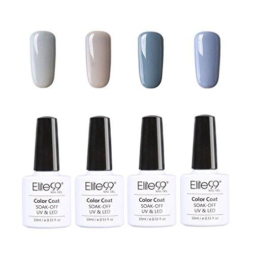 Elite99 Manucure Vernis à Ongles Gel Semi Permanent Nail Art 4pcs 10 ml UV LED Soak Off, Gris