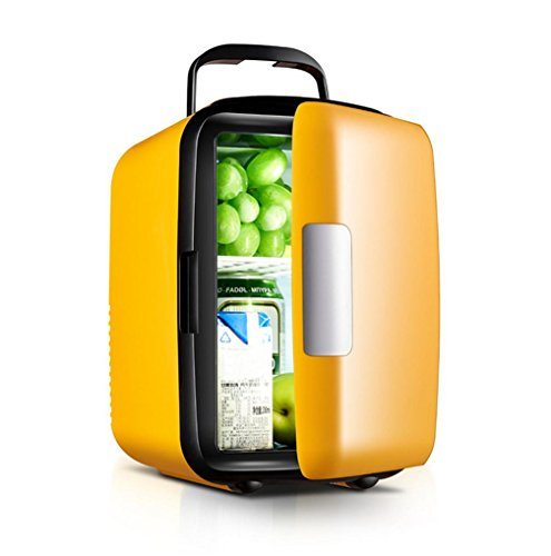 XW 4L Auto Kühlschrank Mini-Haus Kleinen Kühlschrank Auto Dual-Use-Kühlschrank , Yellow,yellow