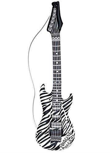 Guitarra inflable con estampado de cebra Rock Star de los 80