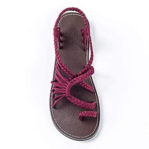Flache Sandalen Für Frauen Palm Leaf, Womens Beach Flache Sandalen Rot 35~43,37 -