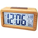 luminosit/à regolabile per comodino Vihimi Sveglia sul letto sveglia digitale in legno non ticchettio scrivania mensola