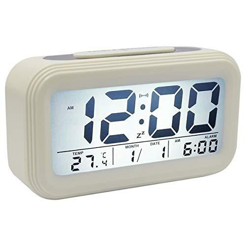 COOJA Digitaluhren Wecker Digital Weiß, Elektronische Wecker Beleuchtet Batterie Digital Uhr Große Ziffern für Kinder Senioren, Digitalwecker Reisewecker mit Schlummerfunktion Datum Temperatur (Kinder-wecker Uhr Digital)