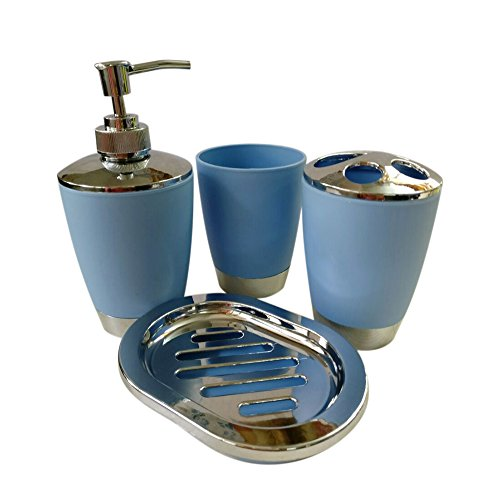 Bathroom Accessories set, 4Pc Plastic Bathroom Sets - Toilet ...