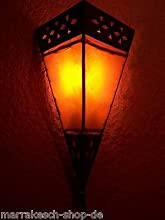 Oriental marroquí piel lámpara de pared Rabat naranja