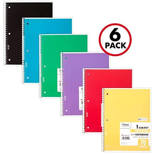 Mead Spiralblock, 1 Thema, breit, liniert Breit liniert Pack of 6 verschiedene Farben (Mead Notebook Binder)